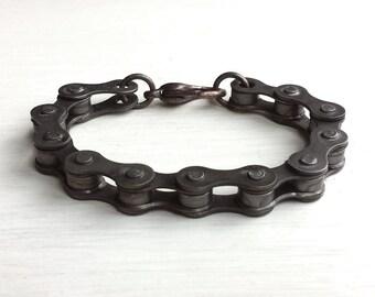 Black Bike Chain Bracelet - Industrial - Custom Made - Gothic - Rugged - Men's Jewelry - Rustic - Bike Jewelry - Chain & Link Bracelet