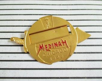 SALE Vintage Fraternal Medinah Shriners Name Badge Chicago 1949