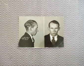 Original Vintage Police Mugshot 1934 Detroit Michigan