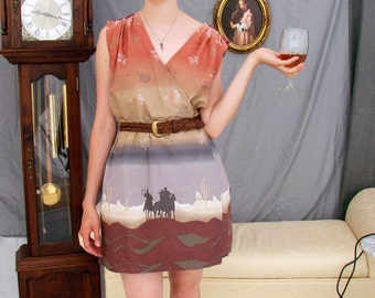 Wrap dress in Western border print cotton with leather belt, size small medium, one of a kind