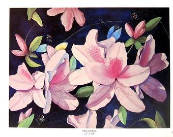 Flower Print - Pink Azaleas - Botanical Print -1996 Naturalist Book Page - 12 x 9