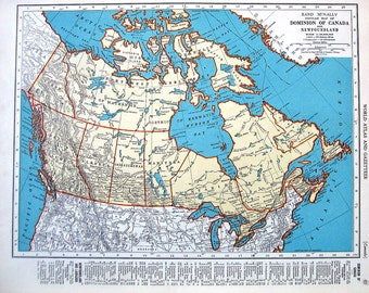 Map of the Dominion of Canada, Map of Nova Scotia, New Brunswick - 1937 Vintage Rand McNally Map World Atlas 2 Sided - 14 x 11