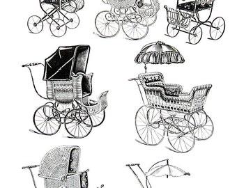 Children's Go Cart, Children's Carriages - Latter Part of the Last Century - 1968 Vintage Book Page - 10 x 7
