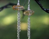 Citrine Crystal Point Tassel Drop Earrings