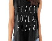Peace Love & Pizza Cap Sleeve Cotton Muscle Tee shirt Alternative Apparel