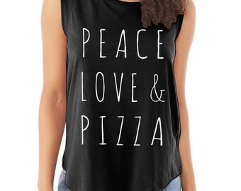 Peace Love & Pizza Cap Sleeve Cotton Muscle Tee shirt Alternative Apparel tank top