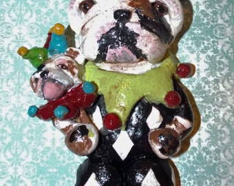 Vintage Folk Art Jester English Bulldog Dog Doll Ornament Nostalgic One of a Kind
