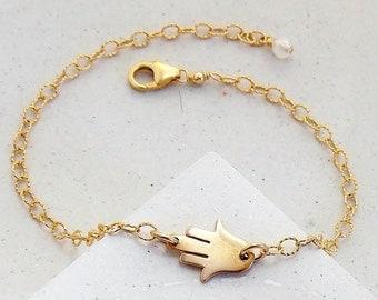 Delicate Hamsa Bracelet | Layering Bracelet | Yoga Jewelry | Hand of Fatima | Silver or Gold