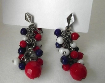 1960s MOD Dangle Earrings Clip On red White Blue Glass Drops Retro