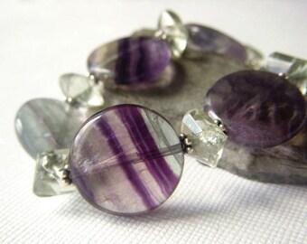 Fluorite Bracelet Sterling Silver, Prehnite Gemstone Bracelet, Purple and Green Coin Gemstone Bracelet Adjustable Medium to Large