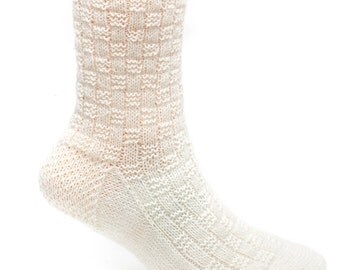 White Basketweave Socks