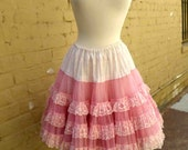 Vintage Sixties Pink and Ivory Lacy Tulle Petticoat with Two Layers of Nylon Tulle / Size Med
