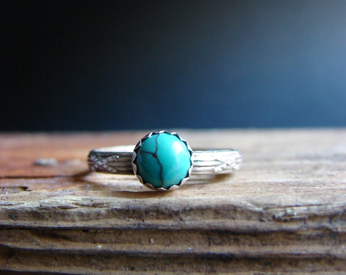 Turquoise Ring Sterling Silver Natural Turquoise Stacking Ring Summer Jewelry Gifts for Her Boho Chic December Birthstone
