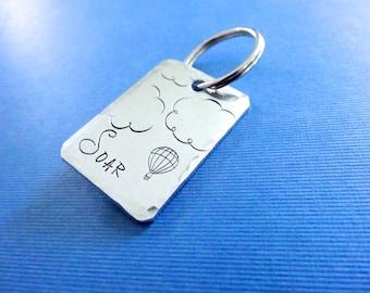 Soar Keychain - Personalized hand stamped Soar Keychain