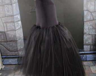Black Hi low tulle skirt Fishtail petticoat wedding underskirt bride bridal goth gothic dance bridesmaid - All Sizes - Sisters of the Moon