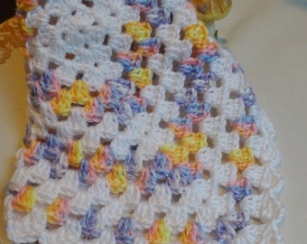 Crochet baby doll blanket afghan 15 inch square White Yellow Blue Purple GRN15