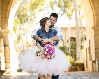 Womens Tulle Skirt Blush Pink Tutu Rustic Cowgirl Wedding Tutu Perfect for Weddings and Portraits