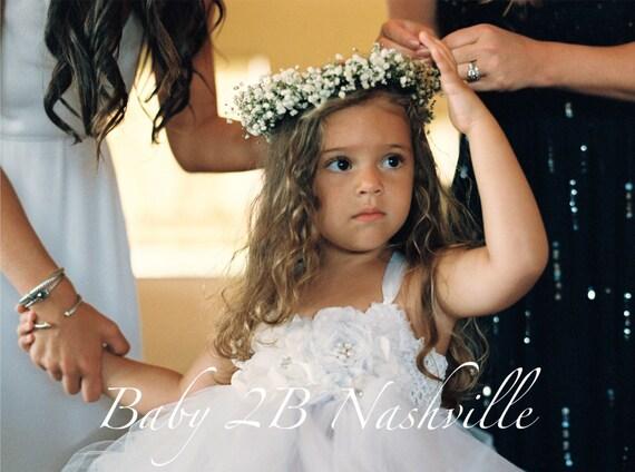 Deluxe Floral Flower Girl Dress in White  All Sizes Girls