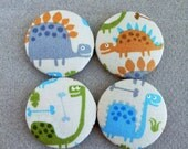 Dinosaur print fabric craft supplies, large buttons, red birds, magnet supplies  - LARGE- made in the USA