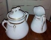 Antique Sugar Bowl and Creamer, Haviland Limoges Gold Band & Rope Decoration, English Kite Mark