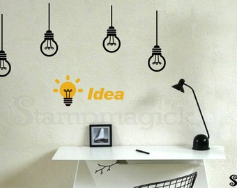 Light bulbs Wall Decal for Office new idea creative vinyl wall decor graphics work creative wall sticker- K251
