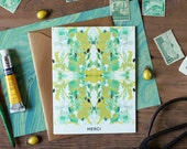 Merci Tiled Chartreuse Marble Greeting Card / Marble Pattern II