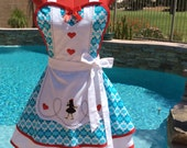 Alice inspired Sassy Apron, Alice in Wonderland Cosplay,  Girls Aprons, Womens Misses and Plus Sizes, Pin Up, Retro, Lolita, Costume Party