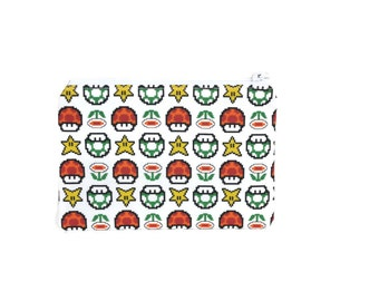 Super Mario Zipper Pouch / Small One Up Bag / Nintendo Geeky Gift