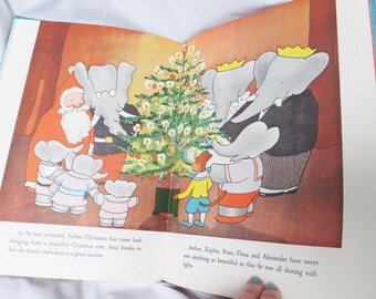 Vintage 1940's Babar and Father Christmas Book Children's Book Published 1940 Children's Classic Literature Babar Elephant Jean De Brunhoff