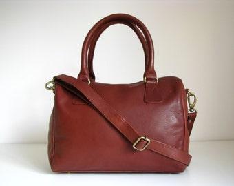 Leather Handbag Barrel Purse, cognac brown
