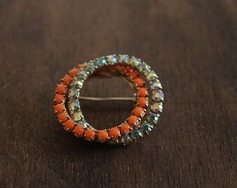 vintage 50s brooch / 1950s brooch pin / vintage rhinestone brooch / double circle brooch