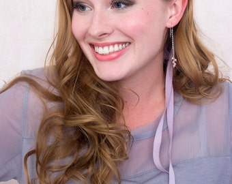 Dusty Rose Swarovski Pearl And Chain Earrings