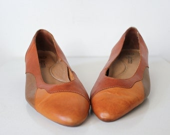 Leather Flats • Colorblock Leather Flats • Patchwork Leather Shoes • Pointed Toe Flats • Womens Flats • Leather Slip On Shoes • 80s Low Heel