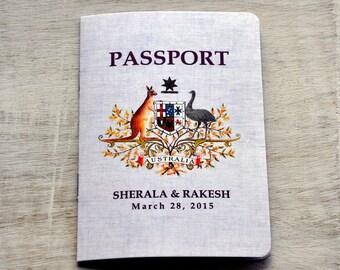 Save the Date Wedding Passport Design Fee (Australian Emblem Design with Plum Accents)