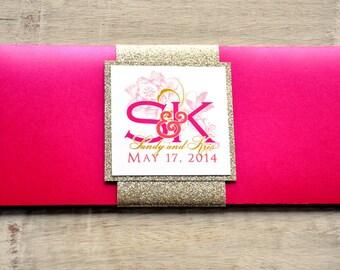 Boarding Pass Invitation or Save the Date Design Fee (Glitter Flourish Design in Pink or White)