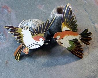 Boho Sparrow Earrings | Asymmetric Tin Bird Earrings | Lithographed Tin Jewelry | Sterling Bohemian Earrings | Upcycled Tin Earrings