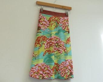 S/M Blooming Trees Wrap Skirt, A Line Skirt, Knee Length Skirt, Cotton Skirt, One Size, Modest