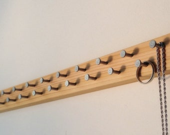 Jewelry Organizer, Wall Hanging Ring, Necklace, Bracelet Organizer, Long Organizer Jewelry Rack, Wood with Modern Metal Jewelry Hooks