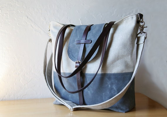 Waxed Canvas and Hemp Tote // Tall // 2-Tone // With leather straps and detachable shoulder strap