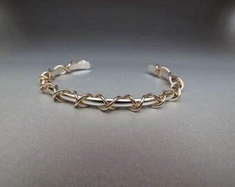 Criss Cross Cuff Bracelet with Gold filled accent