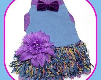 Pet Clothing Dress Size Medium Vintage Cottage Chic Lavender Blues
