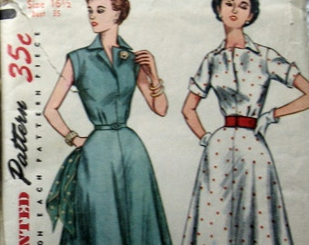 Vintage Womens Dress Pattern With Gore Panel Skirt And 2 Sleeve Styles circa 1950s Simplicity 4284 Sz 16