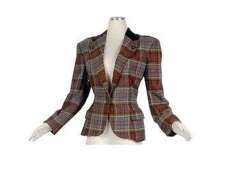 Vintage 80s Blazer  - Ralph Lauren Blazer - 80s Ralph Lauren - Plaid Blazer - Wool Velvet Blazer - Equestrian Blazer - Polo Ralph Lauren - L