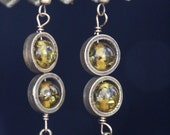 Steampunk Earrings - Green Amber and acorn charm