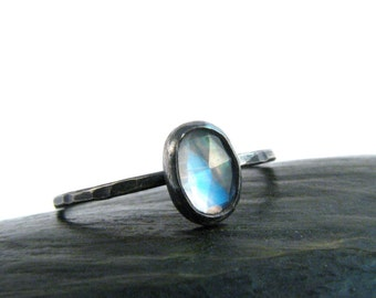 Rainbow Moonstone Bezel Ring in Oxidized Sterling Silver - Rose Cut Oval Blue Moonstone - Stackable Moonstone Ring - Size 7.5 Ring