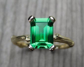 Emerald Twig Engagement Ring: 1.4ct Cultured Emerald; Yellow, White, or Rose Gold