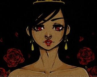 MINI PRINT -Red Queen (4x6 inch anime/manga style art print)