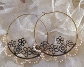 Lilygrace Large Scalloped Edge Filigree Hoop Earrings with Vintage Glass Pearls