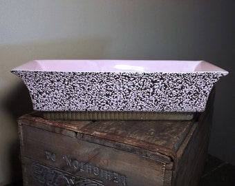 Vintage SHAWNEE Pink & Black Flecked 50s Ceramic TV Planter Dish