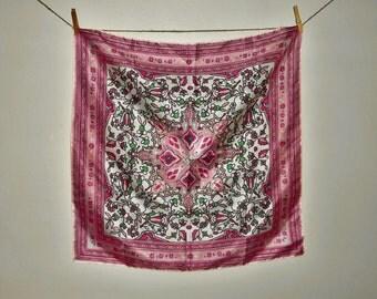 VERA Designer Vintage Silk Scarf Pink Floral Kaleidoscope